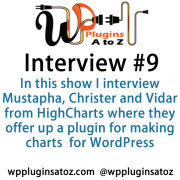 In this show I interview Mustapha, Christer and Vidar from HighCharts where they offer up a plugin for making charts and several other types of charting system for WordPress and stand alone.